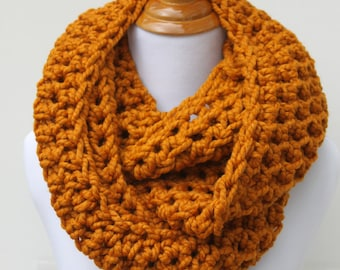 Circle Scarf, Chunky Scarf, Snood, Loop Scarf, Infinity Scarf, Eternity Scarf, Butterscotch