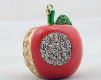 Large Gold-tone Red Epoxy Apple Pendant