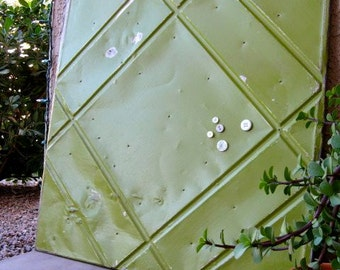Huge Architectural Salvage Magnetic Memo Board / Lime Green