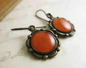 Tangerine Orange Red Vintage Stamping Art Deco Earrings - Handpainted Brass Round Scallop dangle - brass or niobium (hypoallergenic) hooks