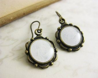 White Dangle Earrings - Handpainted Jewelry - scallop brass earrings - Brass or niobium (hypoallergenic) fish hook earrings