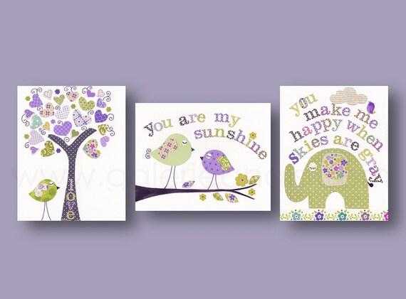 Baby Girl Nursery Decor kids art prints Nursery Wall Art tree bird elephant You Are My Sunshine Set of 3 prints