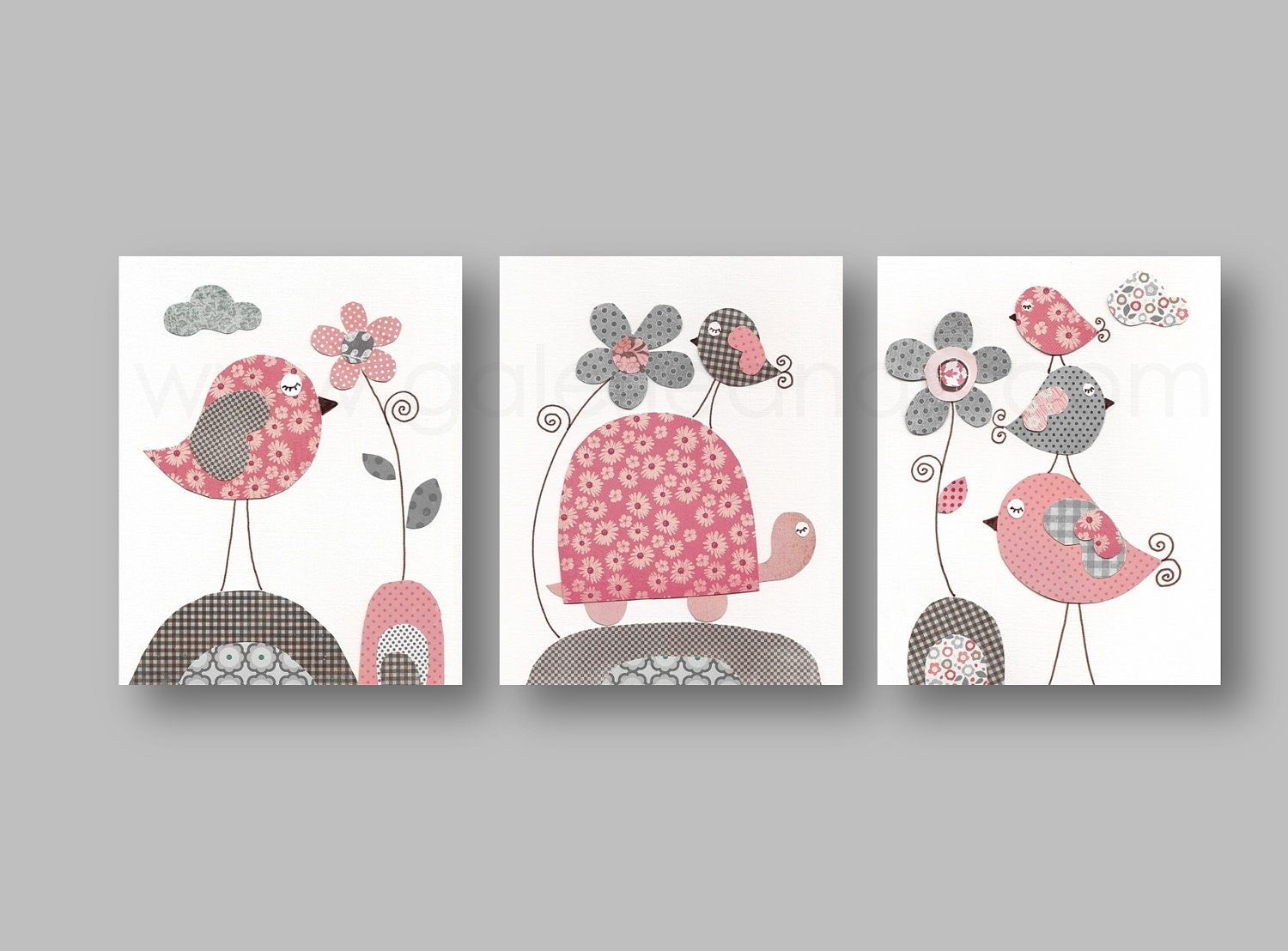 Pink and gray nursery wall art nursery print baby by for Pink wall art