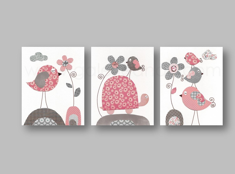 Baby gear galore pink and gray nursery wall art nursery - Chambre enfant orange ...