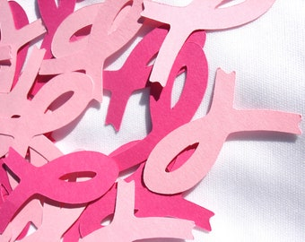 Breast Cancer Pink Ribbons Table Scatter Confetti Paper Die Cuts 2 Inch Set of 25