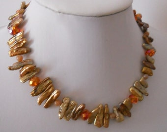 AUGUST pearl and crystal statement necklace