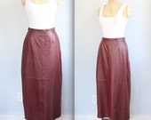 vintage 1980s leather skirt. Size 10. Burgundy wine maxi, high waisted. Retro equestrian / the MORNING WINE skirt