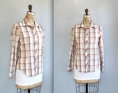 vintage 1970s plaid women's shirt. Medium. tan, rust, aqua. Long sleeve blouse. Rustic woodland / the ROAST PEANUTS shirt