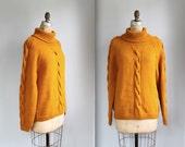 vintage 1960s chunky turtleneck sweater. Unisex med. Handknit pumpkin orange wool. Rustic fall colors / the PUMPKIN PIE turtleneck