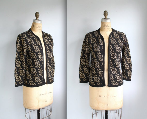 SALE vintage 1960s gold and black cardigan. Medium. Metallic roses by Sally Gee. Open placket. Retro fall / the BURNT SUGAR sweater