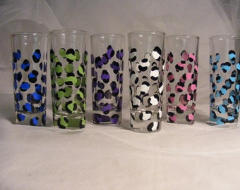 painted shot glasses in assorted leopard print - perfect for wedding, birthday, bridesmaids - can be personalized