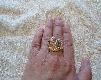 Pink Lemonade Beaded Ring