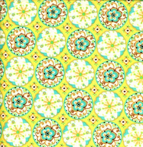 Designer Fabric 1 YARD Dena Designs 'sun drop' circle blossoms DF11 MINT OOP Rare