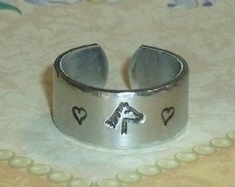 Horse Lover Band Ring - Love Horses Hand Stamped Aluminum Wide Band Ring - Equestrian Ring - Equine Ring - Horseshoe Ring