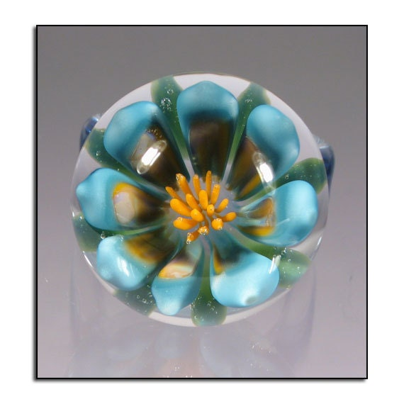 SALE - Blue and Yellow Glass Flower Ring - Boro Lampwork Glass Ring Size 6 1/4 - Hand Blown Glass Jewelry (3424)