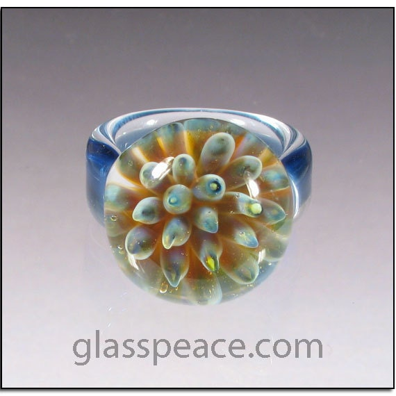SALE - Blue Glass Sea Anemone Ring - Boro Lampwork Glass Ring Size 7 - Hand Blown Glass Jewelry (4066)