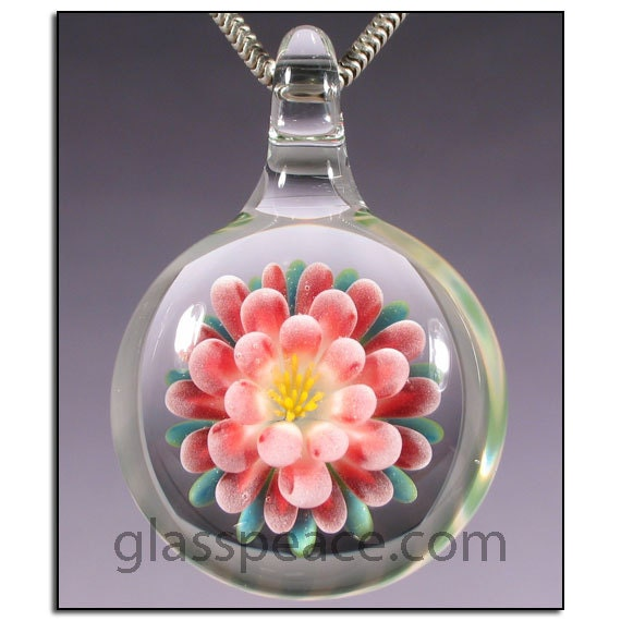 SALE - Glass Flower Pendant - Boro Lampwork Necklace Focal - Hand Blown Glass Jewelry (3883)