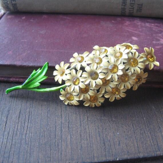 beautiful yellow enameled amber rhinestone brooch bouquet
