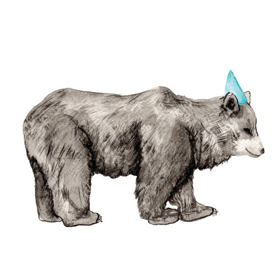 Watercolour, Pen and Ink illustrated blank A5 Card with Envelope- Party Animal - Party Animal - Bear with party hat