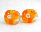 Cuff Links Cufflinks Accessories Millefiori Fused Glass Artisan Minnesota Handmade Handcrafted Accessory Sunny Marigolds