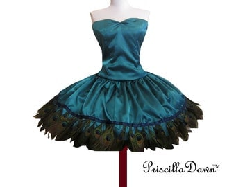 Valentines sale Sexy Satin Peakock Birdie Dress Custom in your size feathers satin teal prom gown runway couture PriscillaDawn