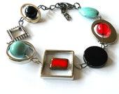 Funky bracelet, unique turquoise, onyx and red bracelet, gift, asymmetric bracelet,  funky bohemian jewelry