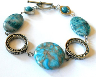 Blue bracelet, silver link and blue agate chunky bracelet, bohemian jewelry