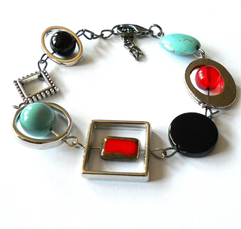 Funky bracelet, asymmetric bracelet, stone bracelet, geometric ...