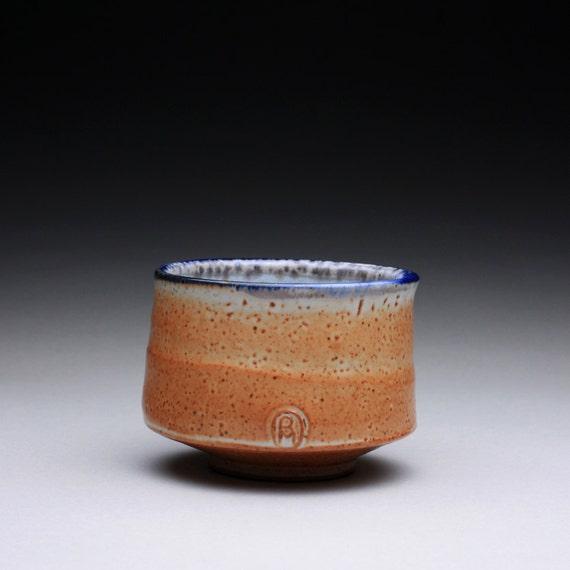 teacup - yunomi  with orange shino, white wood ash and cobalt blue glazes