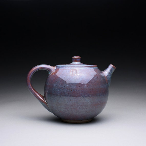 teapot - stoneware pot with lavender blue and shino glazes