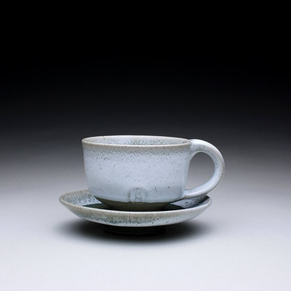 cappuccino cup and saucer set - teacup and saucer with green celadon and white glazes