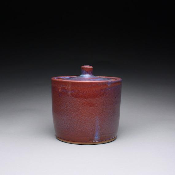 lidded jar, cookie jar, canister with lavender red wood ash glaze and light orange shino