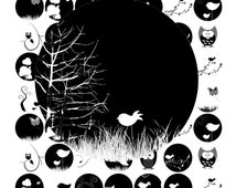Birds and Owls Black and White (1 Inch Round) Images  SALE - Digital Collage sheet bird tree branch butterfly printable stickers