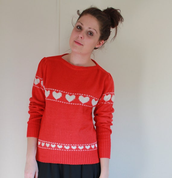 1970s Red Matchmaker Heart Sweater S