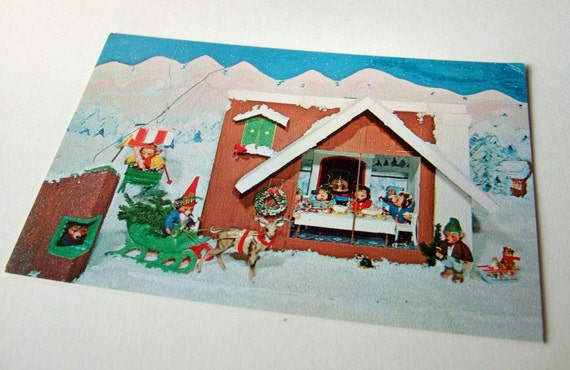 Kitsch Vintage Postcard of Toy Hedgehogs or Bears in the Snow
