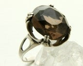 Vintage Smoky Quartz Ring, Sterling Silver, French Modernist, Smokey Quartz, Cocktail Ring, US Ring Size 8, UK Q