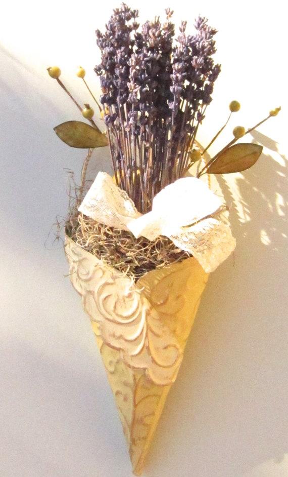 Wall Pocket Floral Arrangement,  French Lavender for Home Decor