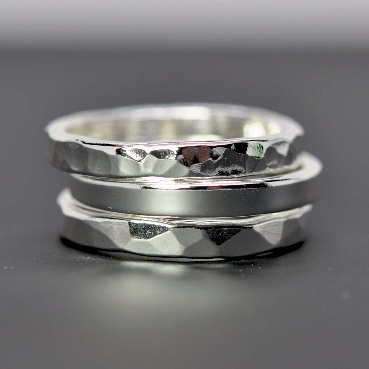 stacking silver rings silver eco friendly recycled metal
