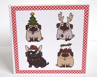 Dressed Up Pugs Christmas Card
