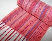 Handwoven Scarf - Woven Tencel and Bamboo Scarf - Wrap - Peach