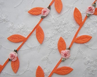 ORANGE Ombre Flower Leaf Trim on a Vine Halloween Fall Thanksgiving Scrapbooking Quilts Clothing Bridal Embellishment