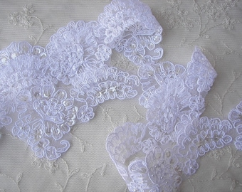 3 inch White PEARL SEQUIN Beaded Soutache Cord Lace Ribbon Trim Doll Quilt Bridal