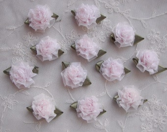 18pc BLUSH PINK Fabric Flower Applique Bow Ribbon Bridal Craft Carnation Cabbage Rose