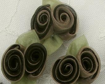 12pc Chic Boutique Brown Tan Organza Rosette Rose Flower Applique Bow