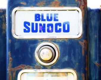 Vintage Gas Pump Fine Art Photography - Antique Car Gas Pump - Blue - White - Photograph - Mid-century America For Guys
