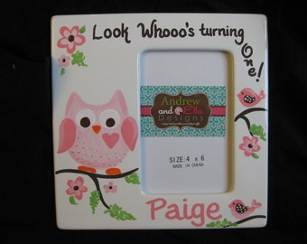 custom hand painted picture frame first birthday owl... look whoo's turning one... pink heart owl