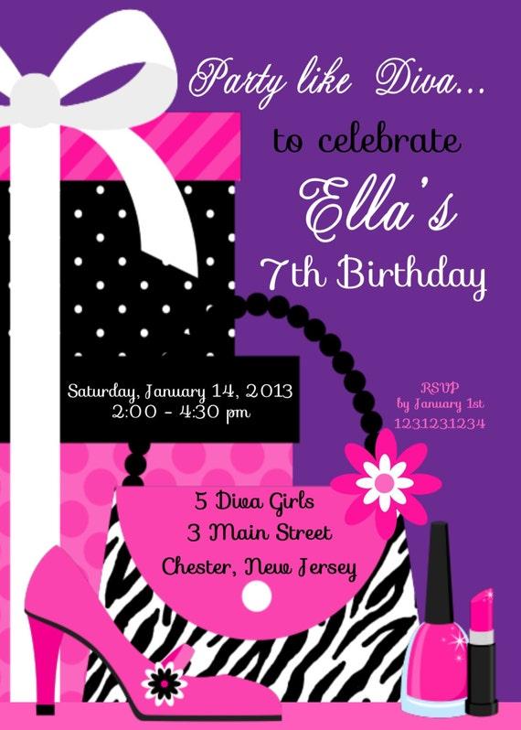 Items similar to diva party invitation custom digital invitation – Diva Party Invitations