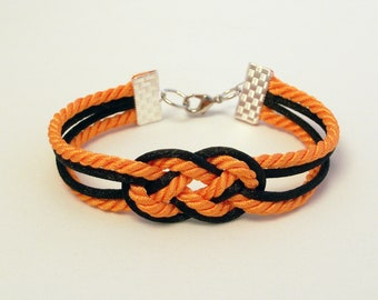 Orange and black double infinity knot nautical rope bracelet in trick or treat // Halloween special
