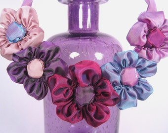 Bib statement necklace of ribbon daisies: French ribbon daisies in violet hues -- just one example of what I can dream up for you