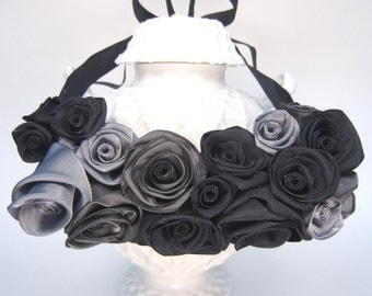 Floral bib statement necklace -- French ribbon roses in black and gray